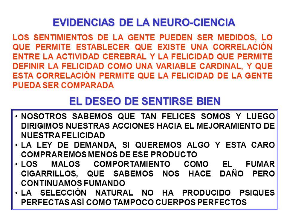 EVIDENCIAS DE LA NEURO-CIENCIA EL DESEO DE SENTIRSE BIEN