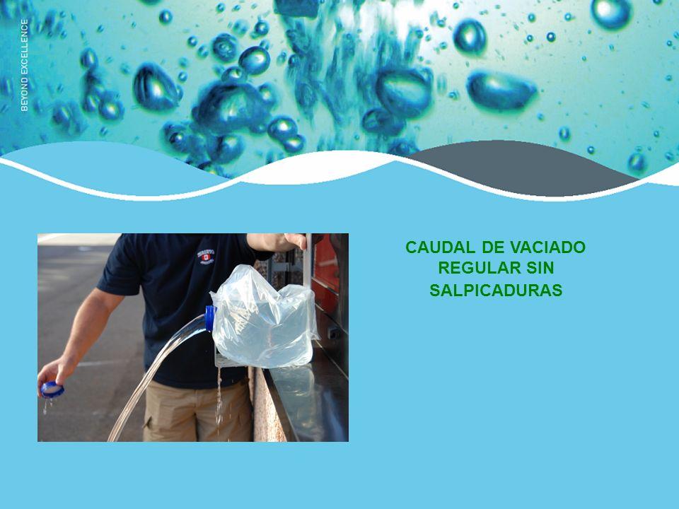 CAUDAL DE VACIADO REGULAR SIN SALPICADURAS