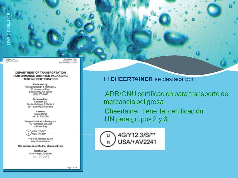 ADR/ONU certificación para transporte de mercancía peligrosa