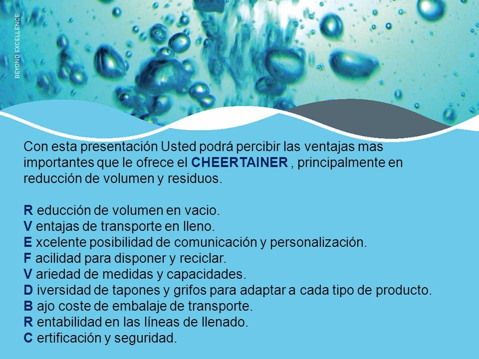 Con esta presentación Usted podrá percibir las ventajas mas importantes que le ofrece el CHEERTAINER , principalmente en reducción de volumen y residuos.