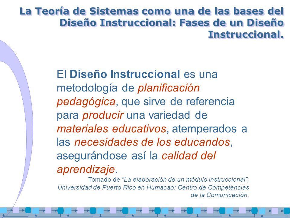 La Teoría de Sistemas como una de las bases del Diseño Instruccional: Fases de un Diseño Instruccional.