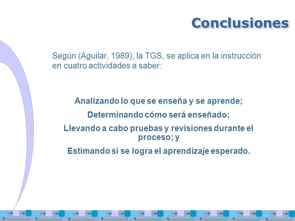 ConclusionesSegún (Aguilar, 1989), la TGS, se aplica en la instrucción en cuatro actividades a saber: