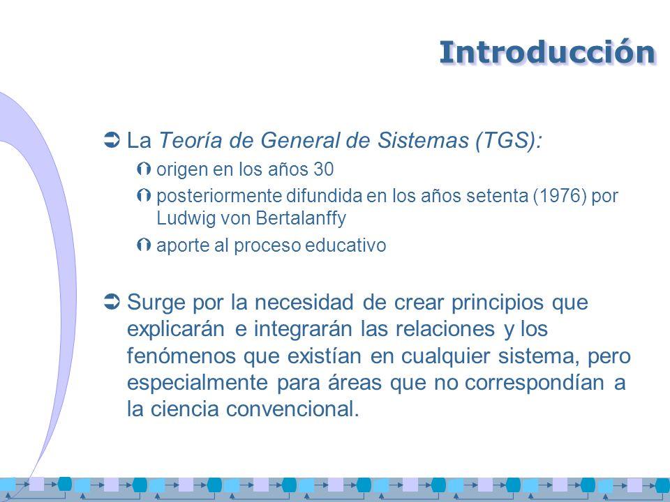 Introducción La Teoría de General de Sistemas (TGS):