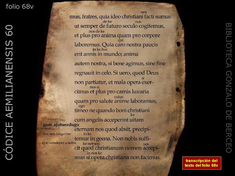 transcripción del texto del folio 68v