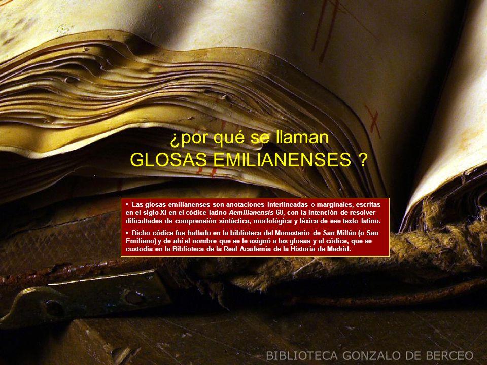 ¿por qué se llaman GLOSAS EMILIANENSES