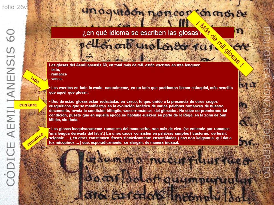 ¿en qué idioma se escriben las glosas