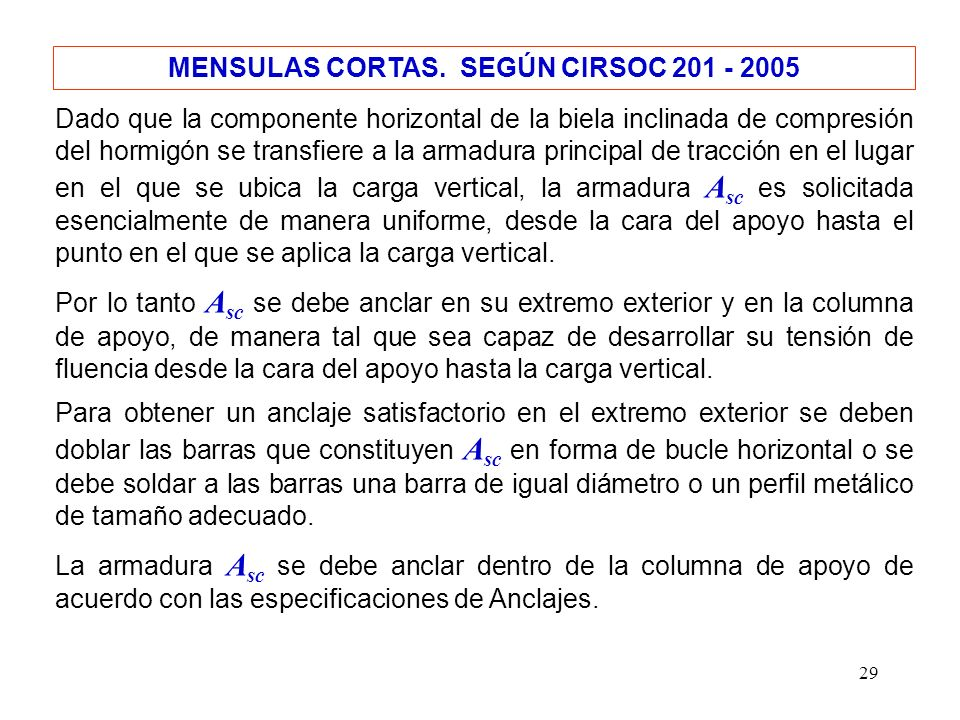 MENSULAS CORTAS. SEGÚN CIRSOC 201 - 2005