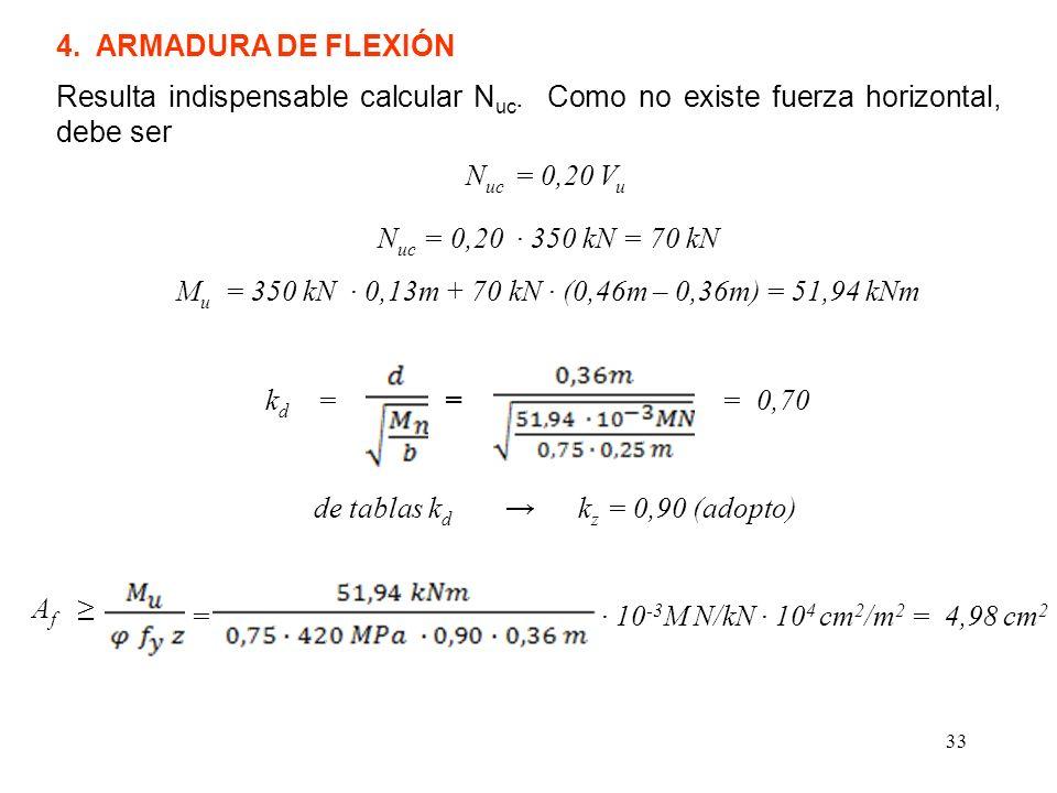 Mu = 350 kN ∙ 0,13m + 70 kN ∙ (0,46m – 0,36m) = 51,94 kNm