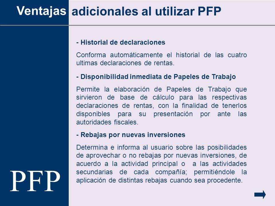PFP Ventajas adicionales al utilizar PFP - Historial de declaraciones