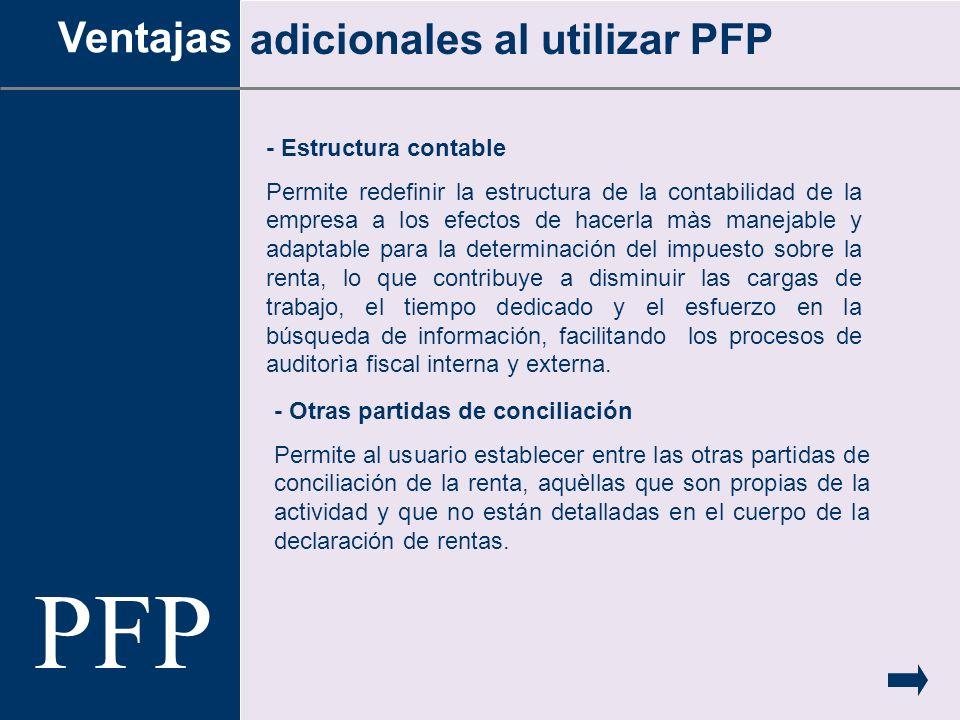 PFP Ventajas adicionales al utilizar PFP - Estructura contable