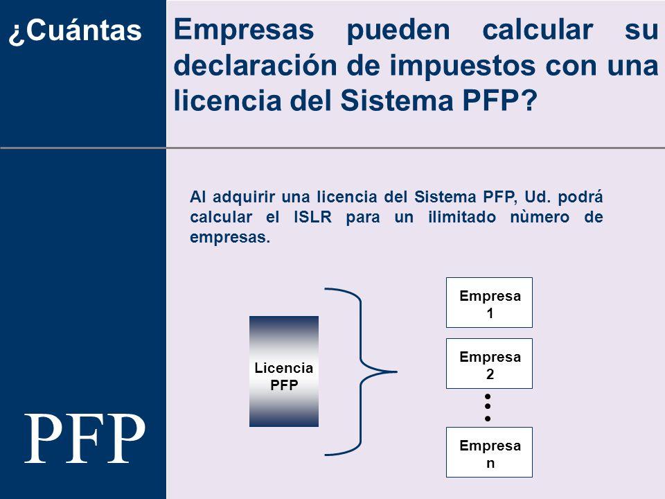 ¿Cuántas Empresas pueden calcular su declaración de impuestos con una licencia del Sistema PFP