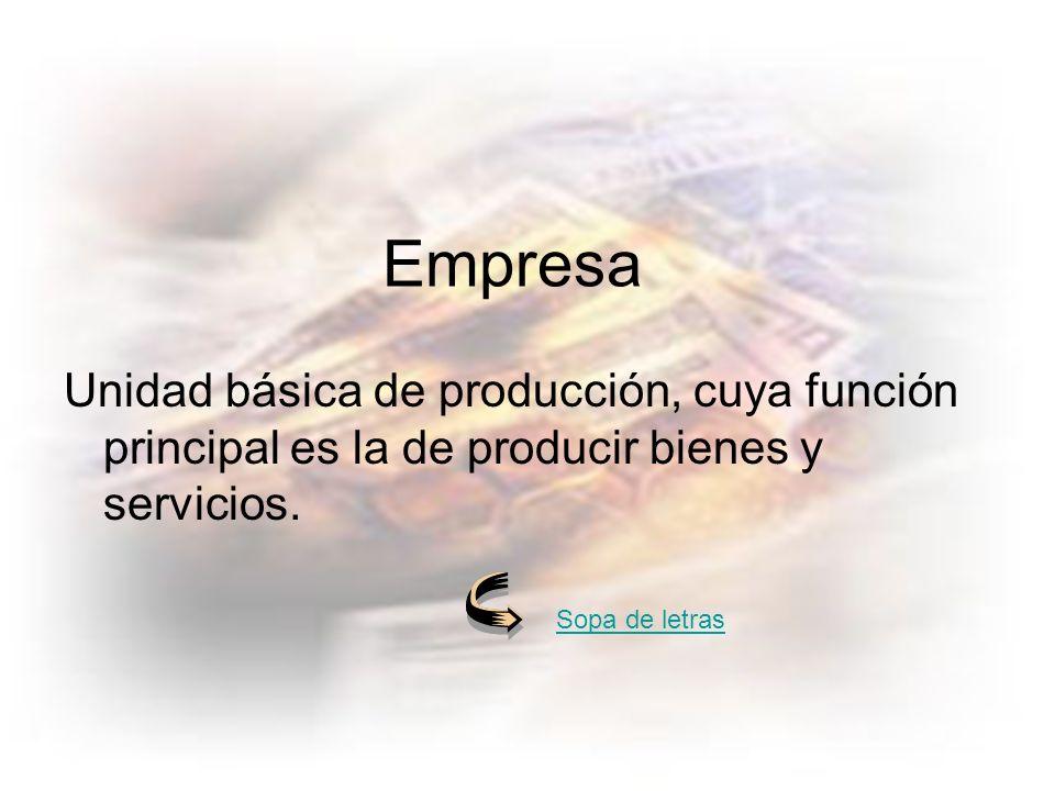 Unidad básica de producción, cuya función principal es la de producir bienes y servicios.