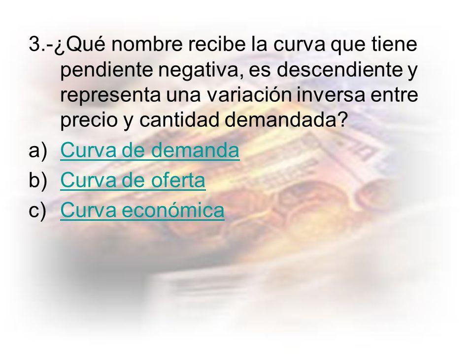 3.-¿Qué nombre recibe la curva que tiene pendiente negativa, es descendiente y representa una variación inversa entre precio y cantidad demandada