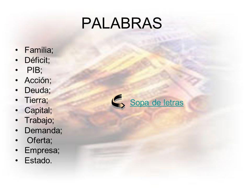 PALABRAS Familia; Déficit; PIB; Acción; Deuda; Tierra; Capital;