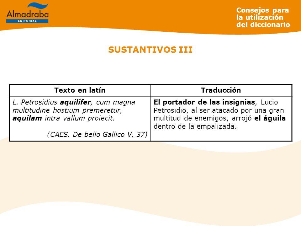 SUSTANTIVOS III Consejos para la utilización del diccionario