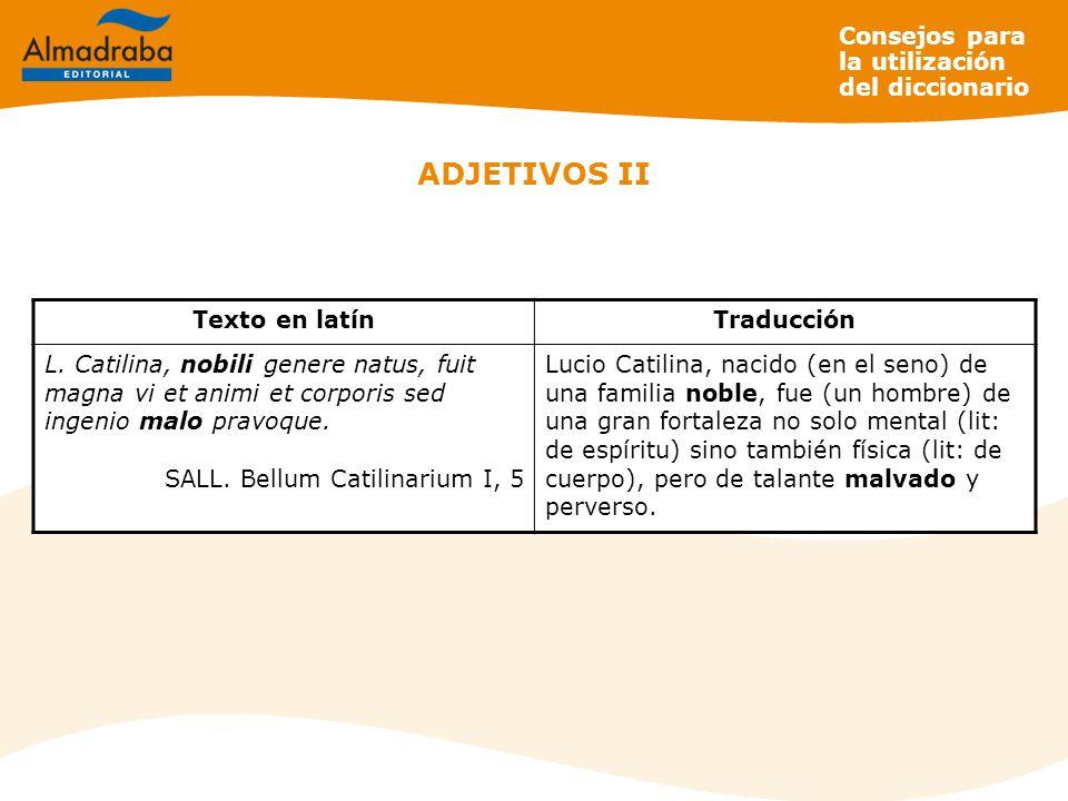 ADJETIVOS II Consejos para la utilización del diccionario