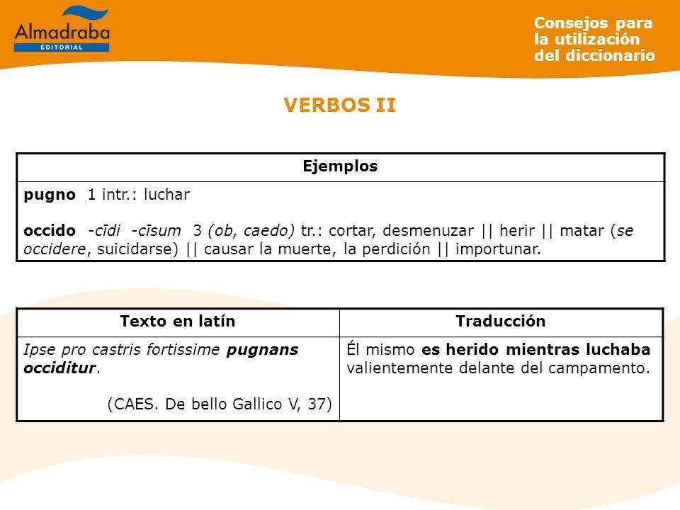VERBOS II Consejos para la utilización del diccionario Ejemplos