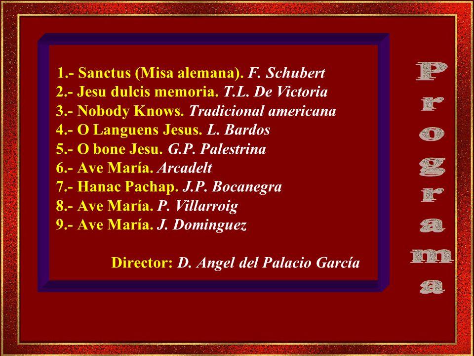 1.- Sanctus (Misa alemana). F. Schubert 2.- Jesu dulcis memoria. T.L. De Victoria 3.- Nobody Knows. Tradicional americana 4.- O Languens Jesus. L. Bardos 5.- O bone Jesu. G.P. Palestrina 6.- Ave María. Arcadelt 7.- Hanac Pachap. J.P. Bocanegra 8.- Ave María. P. Villarroig 9.- Ave María. J. Dominguez Director: D. Angel del Palacio García