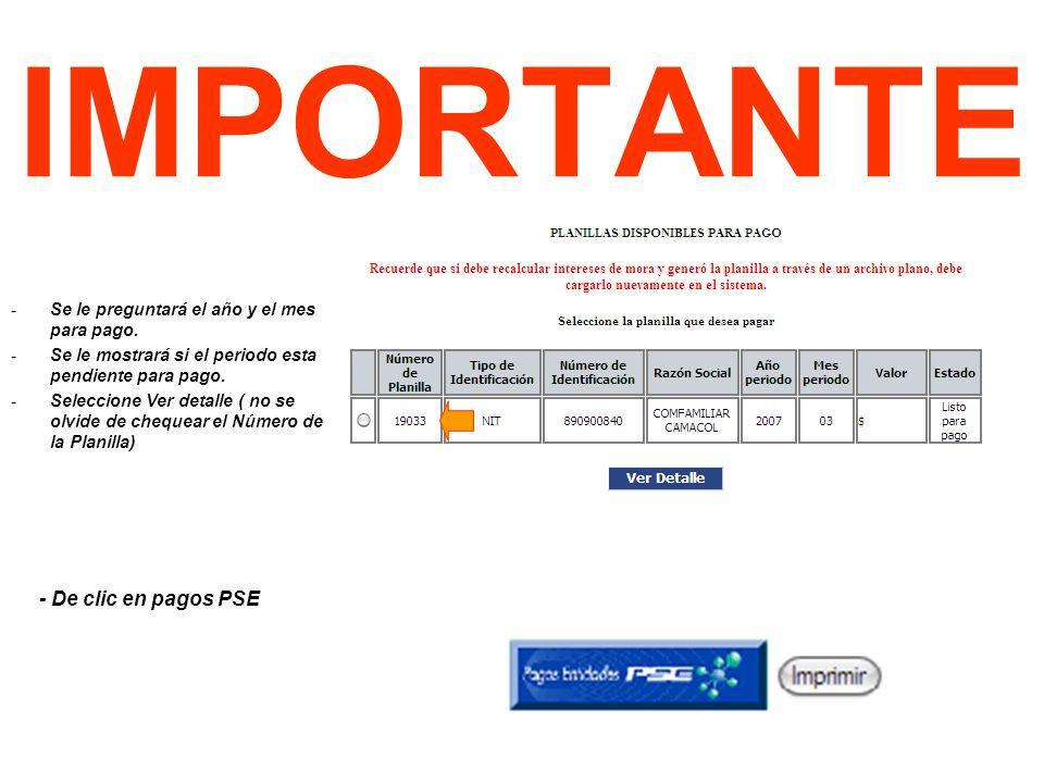 IMPORTANTE - De clic en pagos PSE