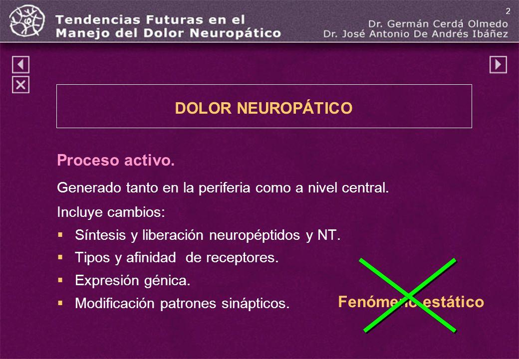 DOLOR NEUROPÁTICO Proceso activo. Fenómeno estático