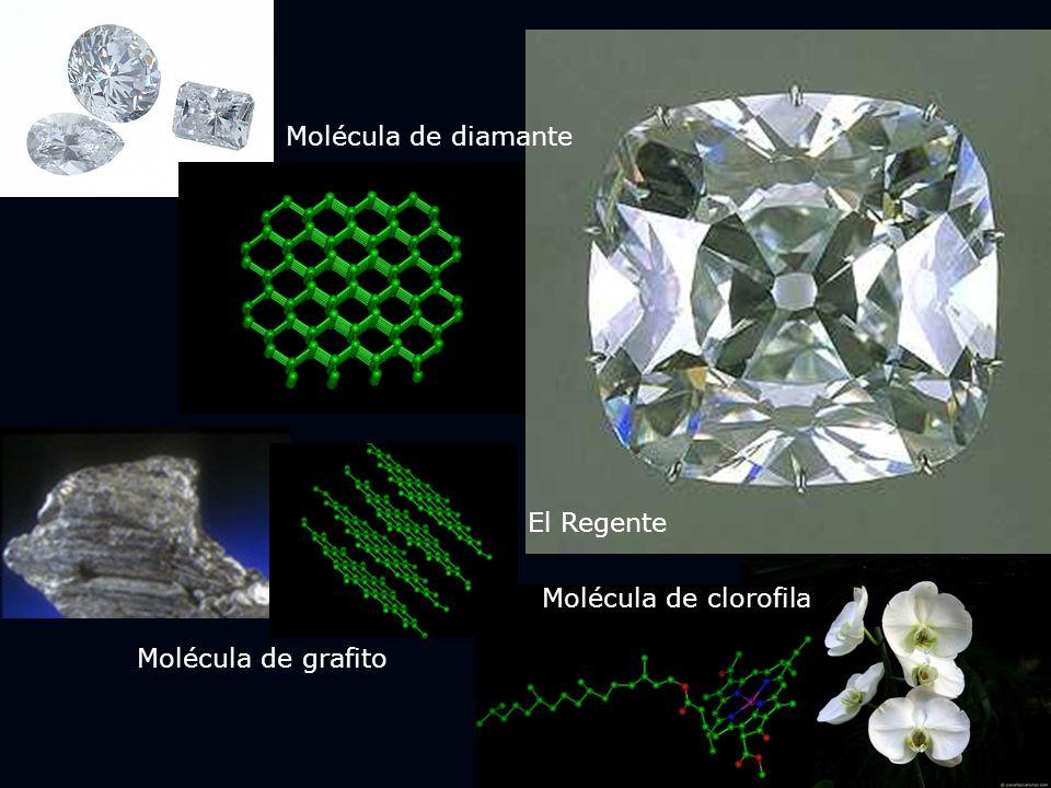 Molécula de diamante El Regente Molécula de clorofila Molécula de grafito