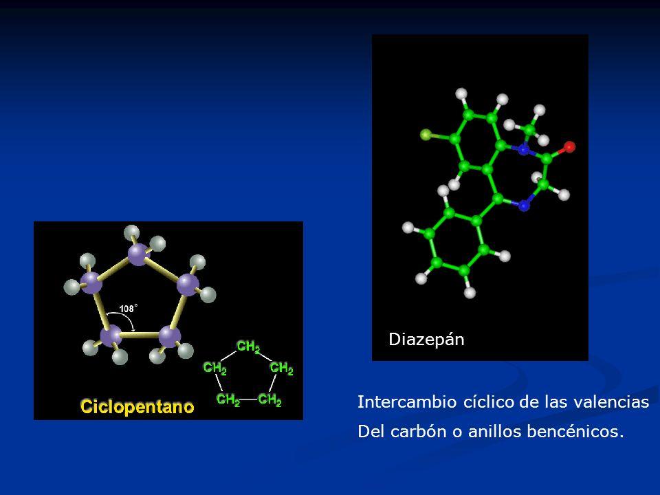 Diazepán Intercambio cíclico de las valencias Del carbón o anillos bencénicos.