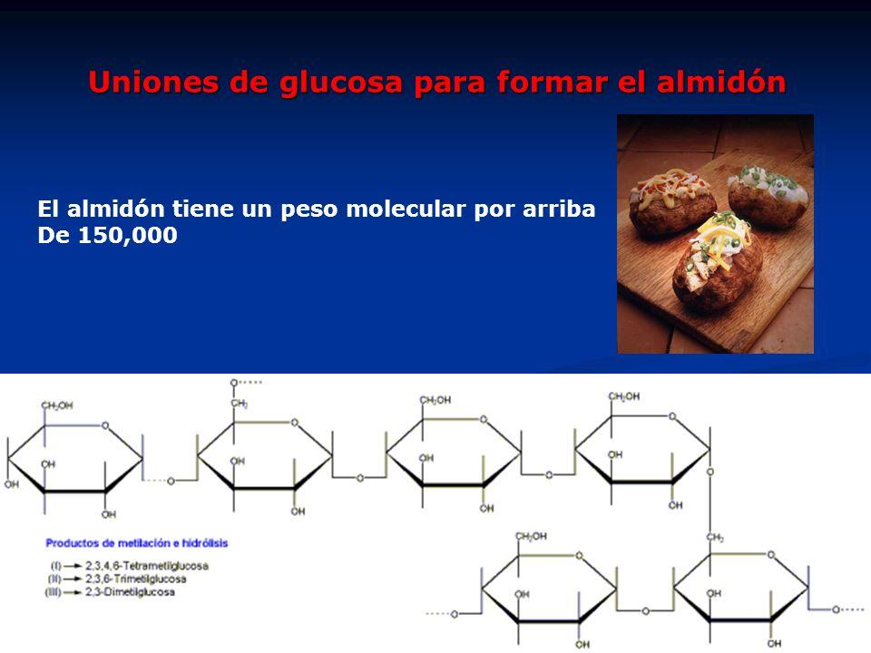 Uniones de glucosa para formar el almidón