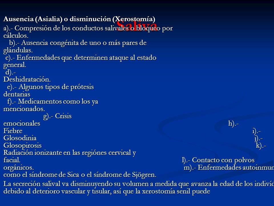 Saliva Ausencia (Asialia) o disminución (Xerostomía)
