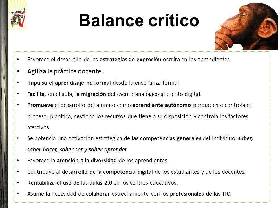 Balance crítico Agiliza la práctica docente.