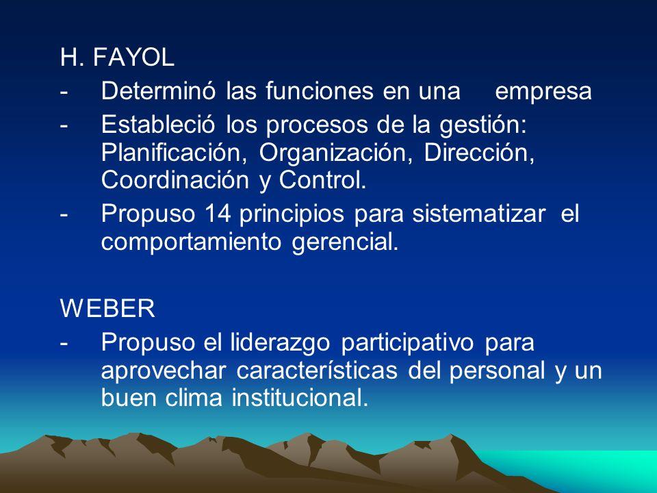 H. FAYOL - Determinó las funciones en una empresa.