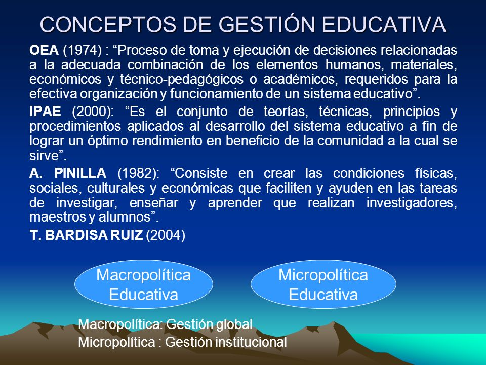 CONCEPTOS DE GESTIÓN EDUCATIVA