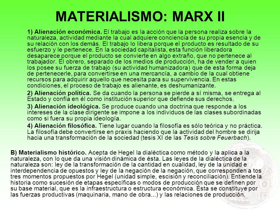 MATERIALISMO: MARX II