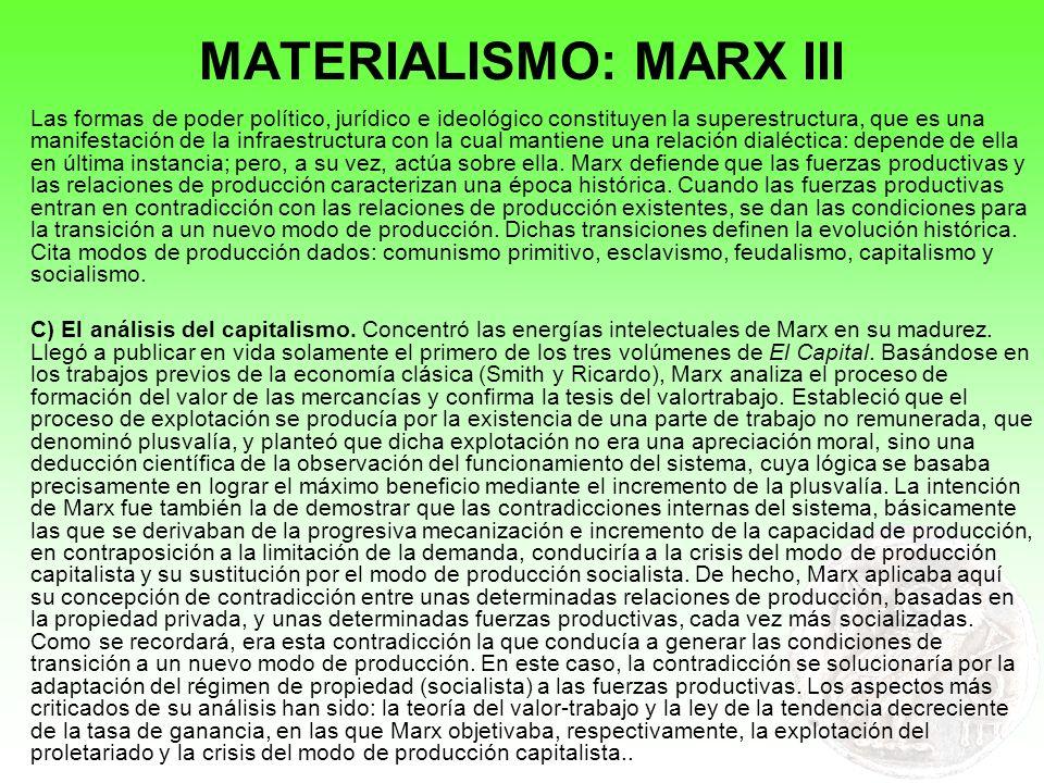 MATERIALISMO: MARX III