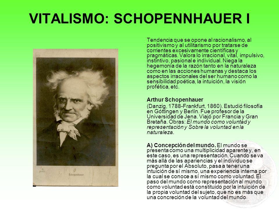 VITALISMO: SCHOPENNHAUER I