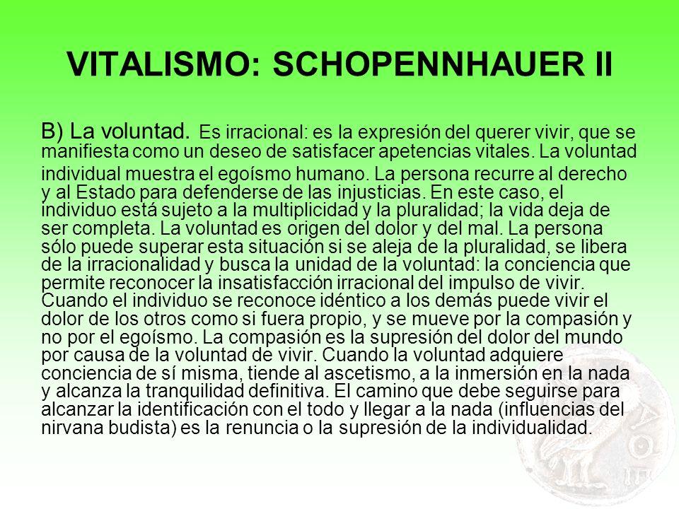 VITALISMO: SCHOPENNHAUER II