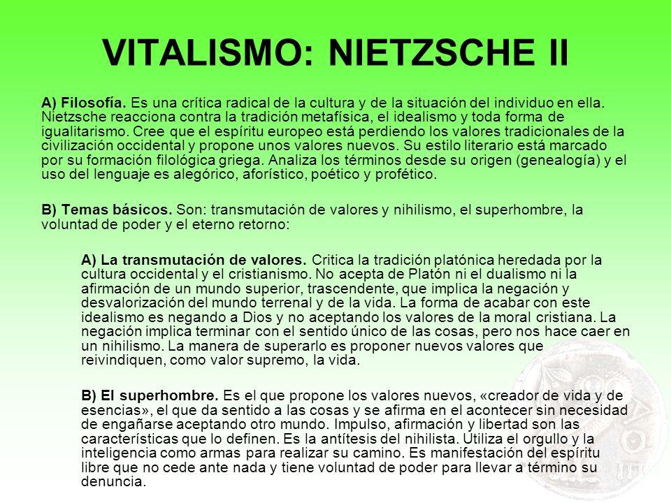 VITALISMO: NIETZSCHE II
