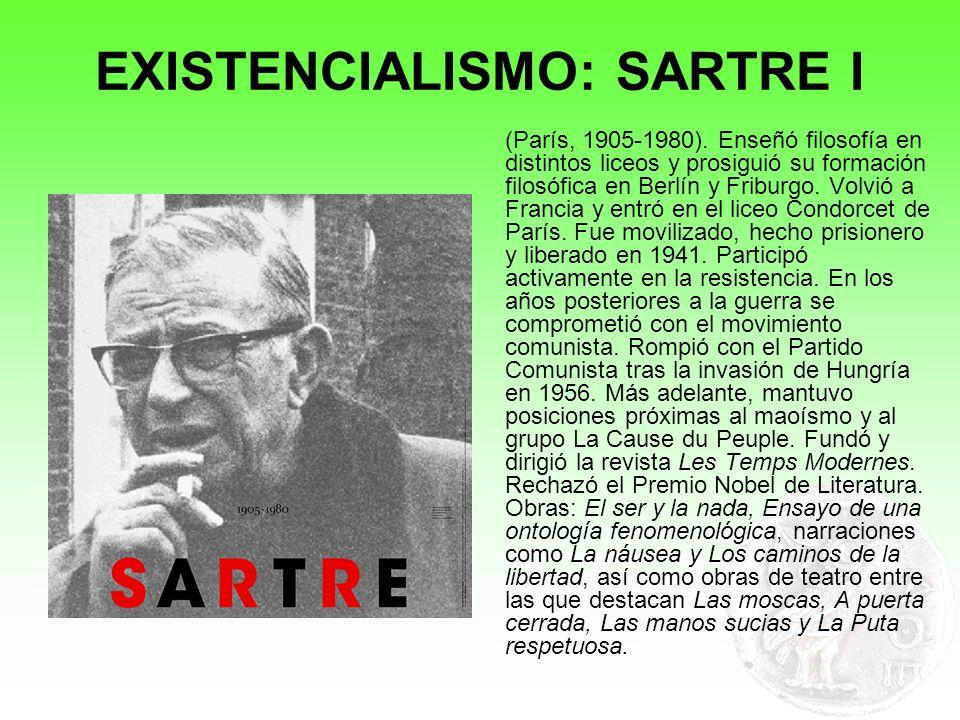 EXISTENCIALISMO: SARTRE I