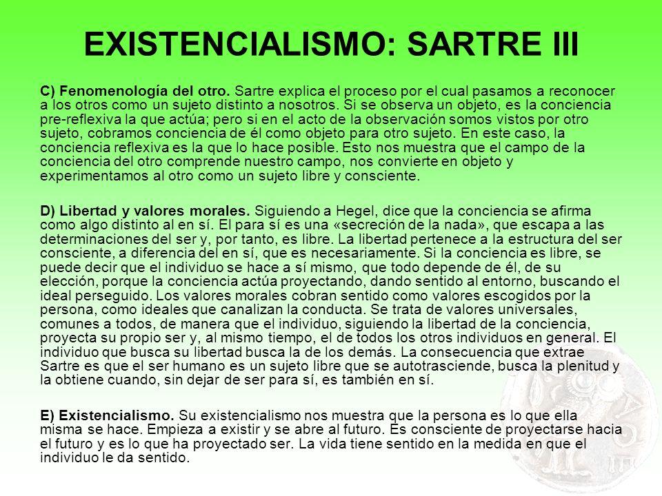 EXISTENCIALISMO: SARTRE III