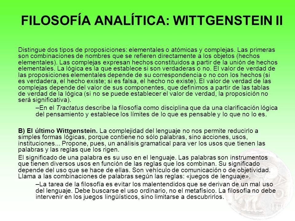 FILOSOFÍA ANALÍTICA: WITTGENSTEIN II
