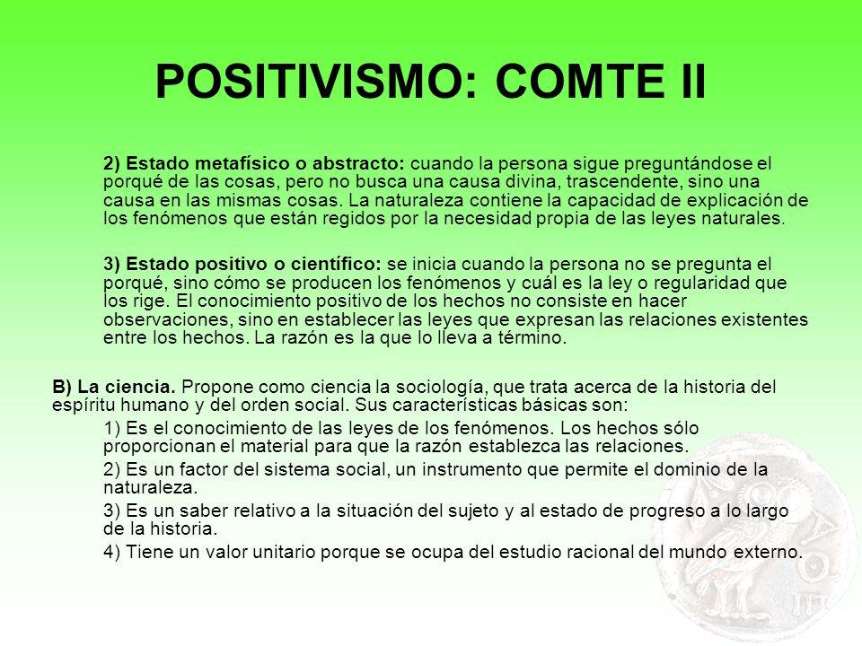 POSITIVISMO: COMTE II