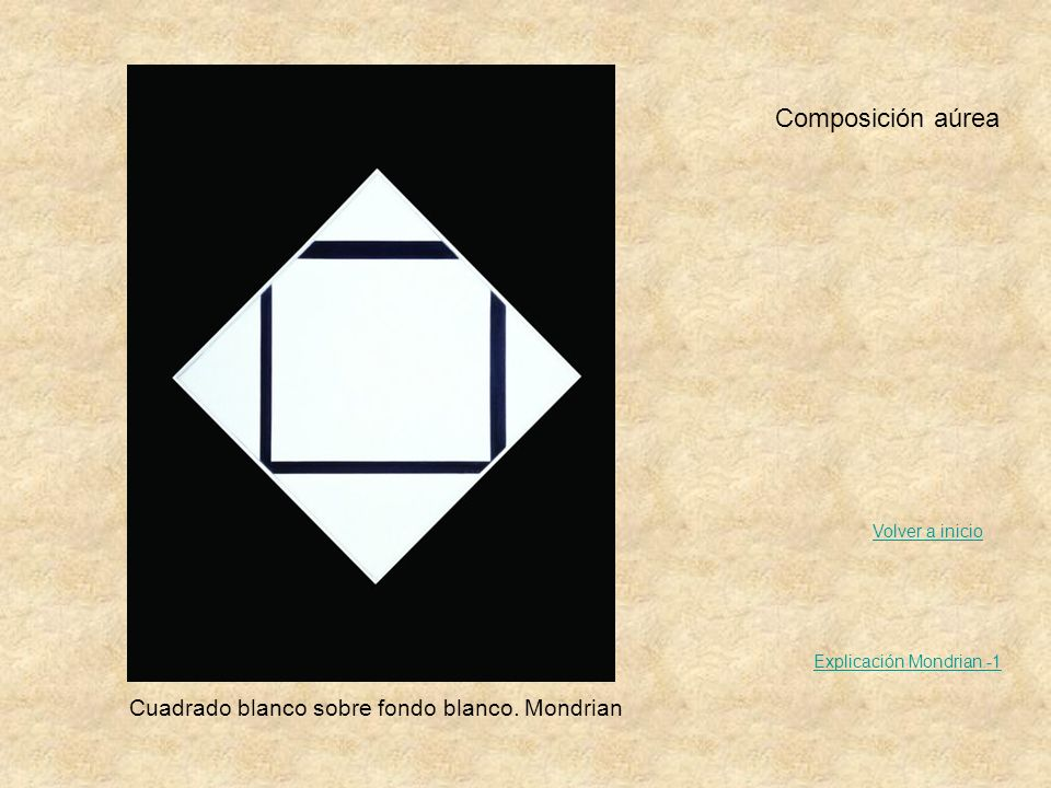 Composición aúrea Cuadrado blanco sobre fondo blanco. Mondrian