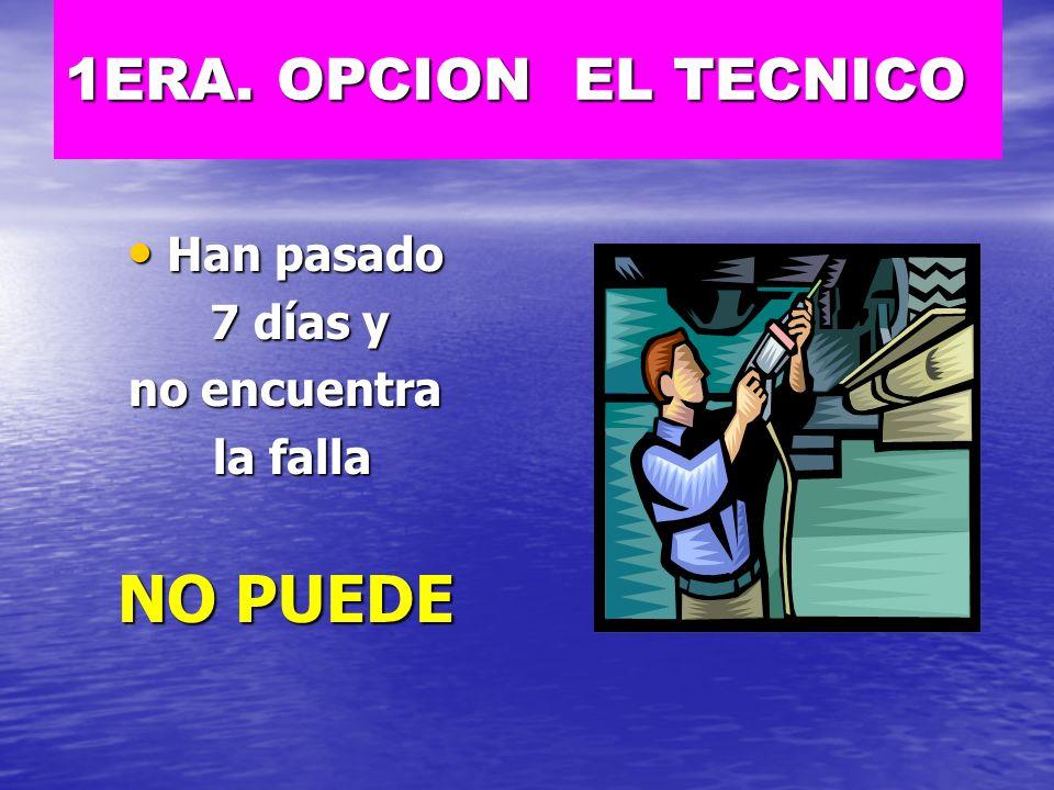NO PUEDE 1ERA. OPCION EL TECNICO Han pasado 7 días y no encuentra