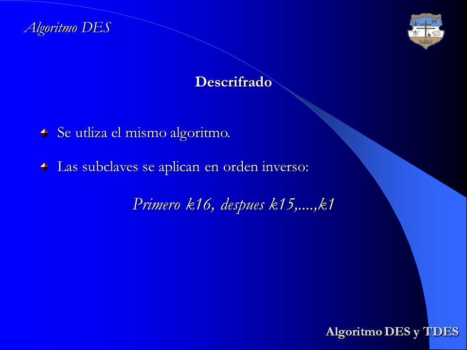 Primero k16, despues k15,....,k1 Algoritmo DES y TDES Algoritmo DES