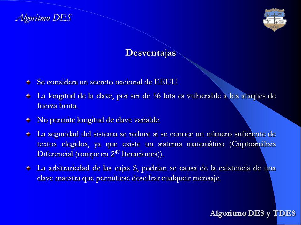 Algoritmo DES y TDES Algoritmo DES Desventajas