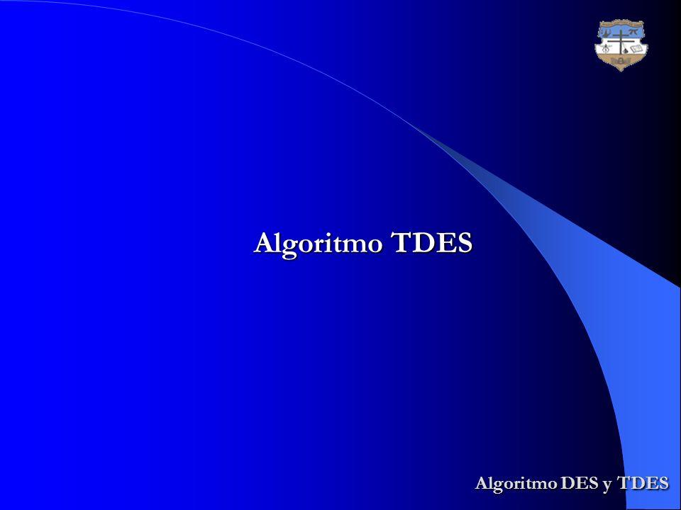 Algoritmo TDES Algoritmo DES y TDES