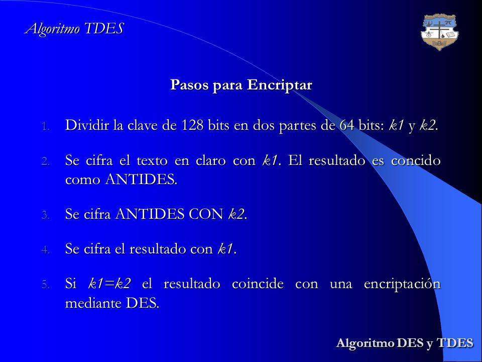 Algoritmo DES y TDES Algoritmo TDES Pasos para Encriptar