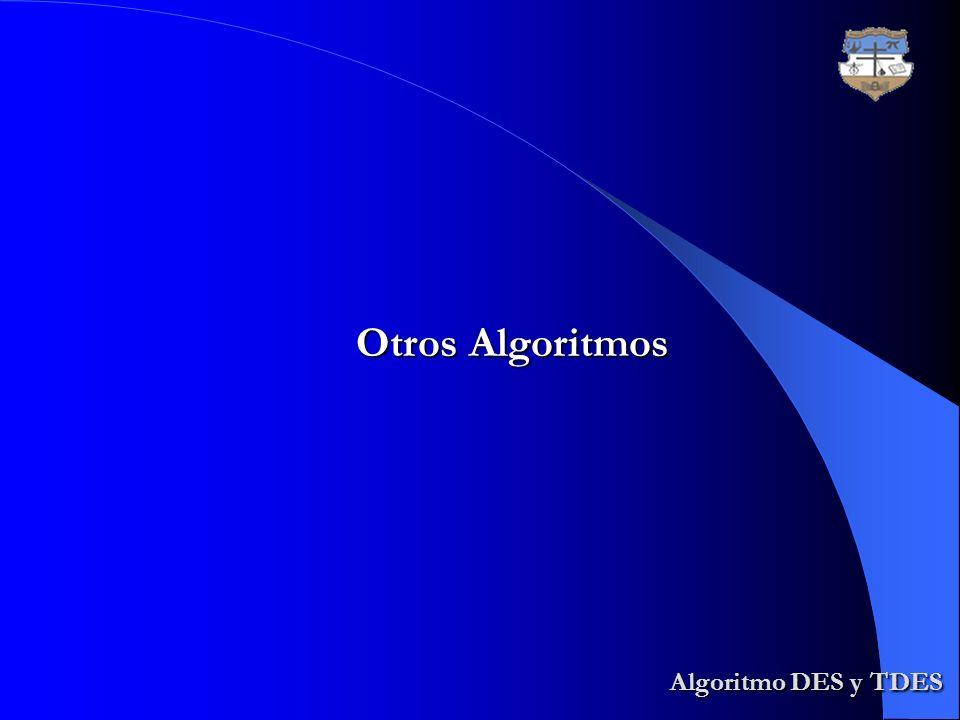 Otros Algoritmos Algoritmo DES y TDES