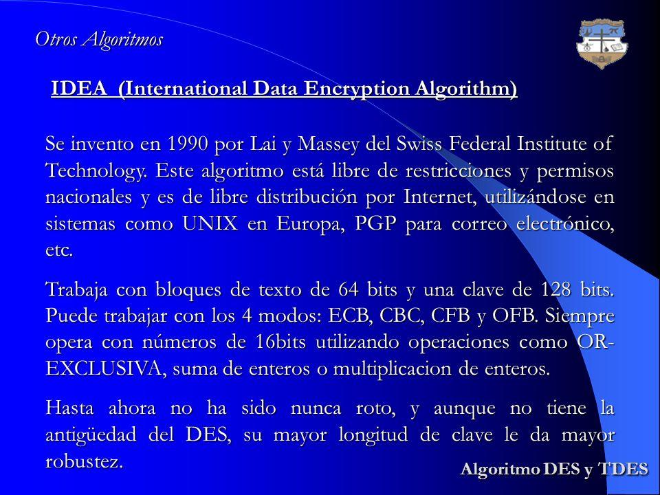 Algoritmo DES y TDES Otros Algoritmos