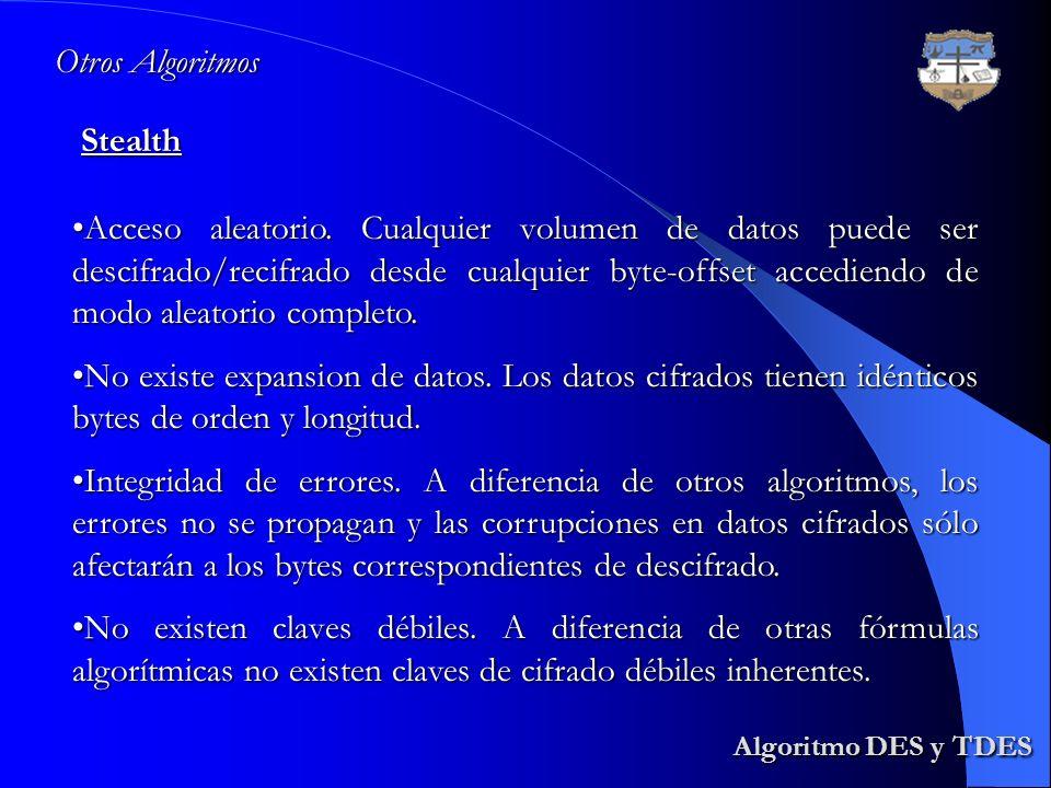 Algoritmo DES y TDES Otros Algoritmos Stealth