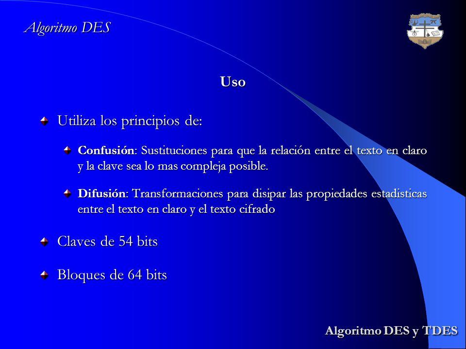 Algoritmo DES y TDES Algoritmo DES Uso Utiliza los principios de: